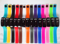 Wholesale Mini Led Watches - Wholesale 100pcs lot Mix 14colors LED touch screen bracelet silicone mini electronic Sunglass watch LT017