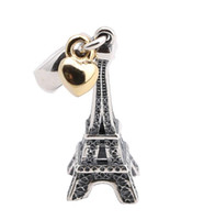 Wholesale eiffel tower bracelet accessories - 100 Sterling Silver Charms Ale Heart Eiffel Tower Dangled European Charms for Pandora Bracelets DIY Beads Accessories