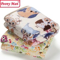 Wholesale Flannel Sheets Full - Wholesale- High Quality Baby Blanket Cartoon 80x100 Cobertor Aircon Child Sheet Thick Warm Peony Man Blankets Super Soft Flannel Fleece