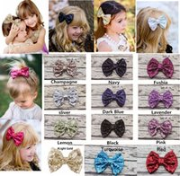 Wholesale wholesale baby hairclips - 12 colors Girls sequins hairbows hairpin large bow hair clips 12*9.5cm Baby barrettes hairclips girls