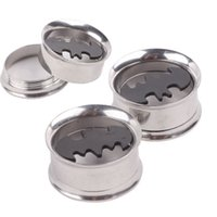 Wholesale Piercing Batman - Batman Plugs Logo Screw Fit Stainless Steel Ear Plugs Flesh Tunnels,Gauges Kit,Earring Piercing Summer Jewelry Tunnels Kits
