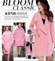 Wholesale Ladies Pink Wool Coats - New Spring Autumn Women Fashion Middle Long Woolen Coats Ladies Loose Casual Long Sleeve Overcoats Girls Lovely Lapel Outerwear
