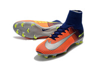 Wholesale Total Rubber - Mens Mercurial Superfly V FG Soccer Shoes Football Boots Mercurial Superfly FG deep royal blue Chrome total crimson Men Socce Shoe Cleats