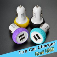 Wholesale Tire Usb - Tire Dual USB Charger Smart Car Chargers Adapter 2 USB Port Sync Charge For ipad Samsung S7 Galaxy HTC LG cell phone