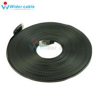 интернет черный оптовых-50ft 8P8C 4Pairs Ultra Flat CAT6 патч-корд Ethernet кабель Lan для Интернета черный цвет 1.1 mm толщина