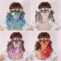 Wholesale Sequins Decoration For Woman - Belly Dance Sexy sequin veil Mask Color PVC Lace Secret Women Princess Mask with Veil Masquerade Party Decoration Halloween Party Mask B281