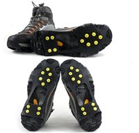 Wholesale Plastic Overshoes - 10 tacks teeth spikes Anti-slip Ice Grip Ice Rubber Magic Spike Winter Walking Sports anti-slip overshoes outdoor shoes cover