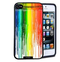 Wholesale Rainbow Cover Mobile - Wholesale Paint Dripping Rainbow Style Hard Plastic Mobile Phone Case Cover For iPhone 4 4S 5 5S 5C 6 6plus