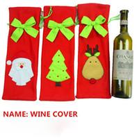ingrosso i migliori legami natali-DHL Freeshipping Tie Copertura della bottiglia di vino Borse per decorazioni natalizie Regalo per bambini Strumenti di bar Buon Natale Miglior regalo per Xmas Bar