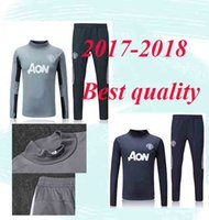 Wholesale Training Suits For Men - 17 18 Thai Quality LUKAKU POGBA United jacket Ibrahimovic MARTIAL LUKAKU MKHITARYAN RASHFORD football Training suit kits For adult
