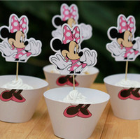 Wholesale Wholesale Xmas Picks - Cute Minnie Styles Paper Cupcake Wrappers Decorating Boxes Cake Cup With Toppers Picks For Kids Event Xmas Birthday Party Decoration 240pcs