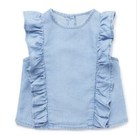 Hug Me Baby Girls Jeans Camicie Baby Girl Abiti 100% Cotone Bambini Short Sleevve Fashion Camicette O-Neck Child Tops 2T-7T