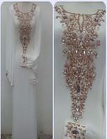Wholesale Dubai Fancy Dress Abaya - Dubai Kaftans abaya jalabiya Ladies Maxi Dress Evening Gowns with Long Sleeves Beaded Crystal Fancy Wedding Party Prom Dresses