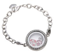 Wholesale Chain Memories - 30mm Silver Crystal round Circle Living Memory Locket Bracelet For Floating Charms Lobster Clasp
