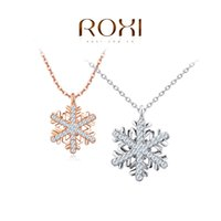 Wholesale Rose Flower Statement Necklace - ROXI Jewelry Platinum rose gold Plated Statement Elegant Snowflake Necklace For Women Party wedding pendant Christmas gift