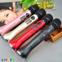 mikrofon karaoke android toptan satış-Orijinal Marka MS-L598 Kablosuz el Mikrofonu Bluetooth Dinamik Mikrofon Hoparlör Kaydedici MP3player KTV Android iOS PC için