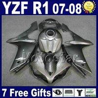 yamaha r1 tank al por mayor-Gris metálico Kit de carenado de inyección + tapa del tanque para YAMAHA R1 2007 2008 yzf r1 07 08 carenados 3G61