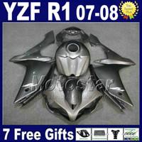 tanque yamaha r1 venda por atacado-INJEÇÃO Cinzento Metálico kit de carenagem + tampa do tanque para YAMAHA R1 2007 2008 yzf r1 07 08 carenagens 3G61