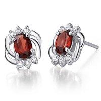 Wholesale Burgundy Crystal Earrings - Flammable volcanic silver earrings 925 female high-end natural burgundy garnet crystal earrings ear jewelry earrings