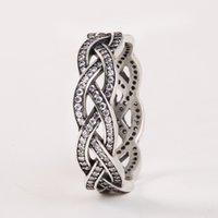 Wholesale antique sterling rings - pandora rings 2015 New Pave Sparkling Zircon Braided Rings 925 Sterling Silver Antique Rings For Women Brand Jewelry wholesale Accessories