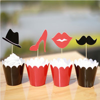 Wholesale Mustache Cups - Classic Lips   Mustache   Heels   Hat Design Cupcake Wrappers Decorating Boxes Cake Cups With Toppers Picks For Wedding Party Supplies