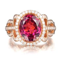 Spedizione gratuita 14K Solid Rose Gold Natural Pink Tourmaline Fidanzamento Diamonds Wedding Ring (R0059)