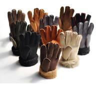 guantes de fútbol al por mayor-Moda para hombres y mujeres, guantes de piel sintéticos, multicolores para mitones de cuero de invierno.