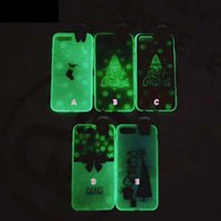 Wholesale Skin Back Cover Luminous Glow - Christmas Glow In Dark Soft TPU Case For Iphone 8 7 Plus 6 6S 6Plus Gift Luminous Tree Snow Santa Claus Fashion Back Cover Skin