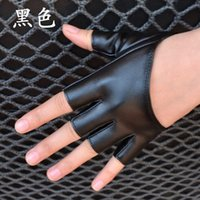Wholesale Women Ladies DS Hip Hop Jazz Dance Bar Evening Party Performance Gloves Mitt Women s Men Half Finger Leather Gloves