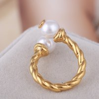 Wholesale Shell Mother Pearl Rings - Top quality brass material Opening Ring Mid Finger Knuckle Rings with pearl 0.8cm beads combination Rings in US size 8# Jewelry gift PS6415