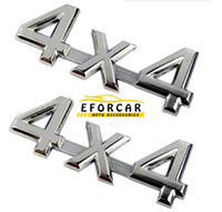 Wholesale driving wheel - Car Trunk Badge 4WD Emblem Sticker 4x4 4 wheel drive for SUV Badge Silver