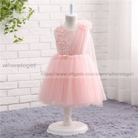 Wholesale Cute Lovely Photos - real picture 2018 blush pink princess ball gown flower girl dresses with appliques Lovely jewel neck cute beads Cheap girls pageant dresses