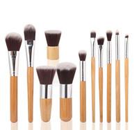 cepillo de fibra de nylon al por mayor-Pinceles de maquillaje Pinceles de maquillaje 11 unids Professional Cosmetic Brush Kit Fibra de pelo con Draw String Bag Eyeshadow Foundation Shade Tools
