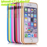 "Wholesale Double Color Metal Aluminum Case - Newest Luxury Aluminum Metal + Double Color Bumper cover back for iphone 6 plus 5.5"" thin Slim Hard Frame Bumpers Cover Case for iphone 6"