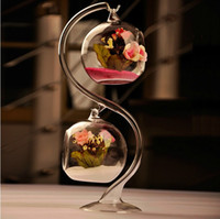 Wholesale Hanging Glass Plant Containers - Glass Hanging Ball Double tabletop plant Flower Vase Hydroponic Terrarium Container birthday christmas DECRATION gift VA003