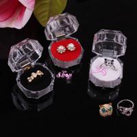 boîte transparente en plastique achat en gros de-3.9 * 3.9cm plastique Boîtes à bijoux boîte transparente Bague Boucles d'oreilles Boîte d'emballage Coffret cadeau en gros - 0019PACK