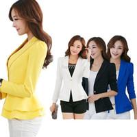 Wholesale Korean Long Blazers For Women - Splendid Summer Style Korean Wind Women's Long Sleeve Jackets Lapel Office Blazer Small Suit For White Collar