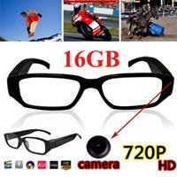 16 GB HD Spy Glass Camera 720p Mini Camcorder Óculos de sol Esconderijo Pinhole DV DVR Video Recorder