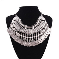Wholesale turkish coin silver necklace resale online - Top Grade Bib chokers Necklace Gypsy Bohemian Beachy Chic Silver Coin Statement Necklaces Boho Fringe Ethnic Turkish India Tribal Free W