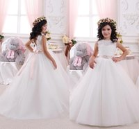 Wholesale Cheap Cupcake Wedding Dresses - New Arrival 2016 Cheap Lovely White Flower Girls Dresses Lace Tulle Ball Gown Beaded Sash Girls Birthday Party Cupcake Dresses Gowns BA1480