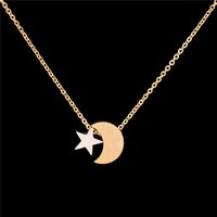Wholesale Crescent Moon Star Pendant - Wholesale 10Pcs lot Fashion Stainless Steel Jewelry Pendant Crescent Silver Necklace Moon And Stars Gold Chains Choker Necklaces For Women