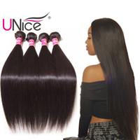 tissage droit péruvien en soie achat en gros de-UNice cheveux péruvienne cheveux raides armure 8-30 pouces 3-5 faisceaux droites vierges extensions de cheveux humains en soie belle