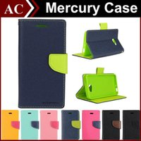 Wholesale Cover Stand Galaxy S4 - Mercury Wallet Leather Stand PU & TPU Hybrid Case Folio Flip Cover For All Phones iPhone 6 Plus 5 5S Galaxy S4 S5 S6 Edge Note 3 4 Z3 Retail