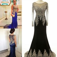 Hot Real Bilder Long Sleeves Prom Kleider Glänzende Pailletten Gold Spitze Applique Scoop Meerjungfrau Satin Sexy Durchsichtig Prom Kleider Freies Verschiffen