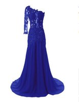 Sheer Neck Appliques White One Schulter Abendkleider Formal Party Gown Schwarz Royal Blue Nixe Langarm Spitze Brautkleider Braut