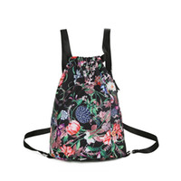 Wholesale Oriental Women Dress - Oriental style floral backpack Lightweight large capacity waterproof nylon travel bag for women Recreation bag can be folded