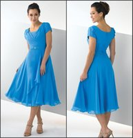 Wholesale Best Evening Dresses - Best Selling 2015 Summer Mother's Dresses Crew Short Sleeve A Line Tea Length Chiffon Cheap Beach Formal Mother Of the Bride Evening Gowns