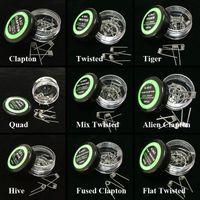 alambre de clapton trenzado al por mayor-Alien Fused Clapton Coils Flat Mix Twisted Coil Hive Quad Tiger Heat Wires 9 tipos diferentes Premade Wrap Resistance Wire