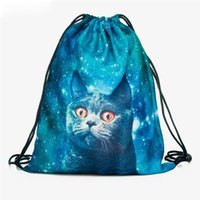 Wholesale cat drawstring backpacks resale online - New Fashion Women Harajuku Cat Backpack D printing travel softback Women Drawstring Bags School girls backpacks