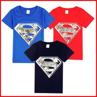Wholesale Boys Short Sleeve Superman Top - Superman Pattern 2016 Children Summer Short Sleeve T-shirts Cotton Kids Boys&Girls Top Tees Childs Clothing 5pcs lot